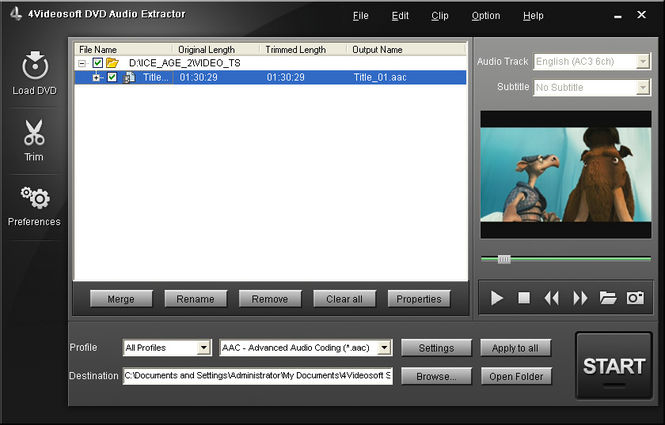 4Videosoft DVD Audio Extractor Screenshot 1