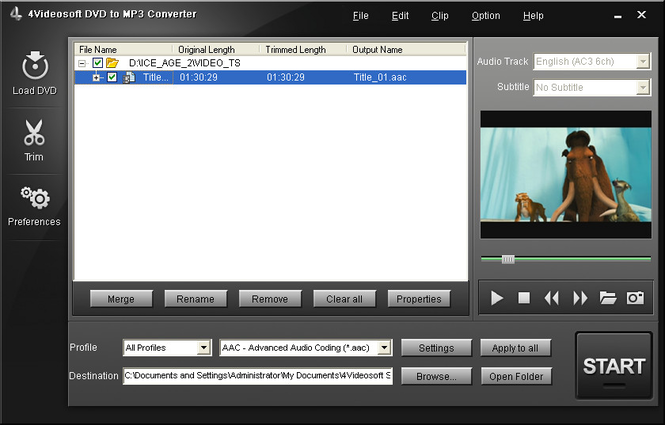 4Videosoft DVD to MP3 Converter Screenshot