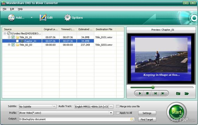Wondershare DVD to iRiver Converter Screenshot