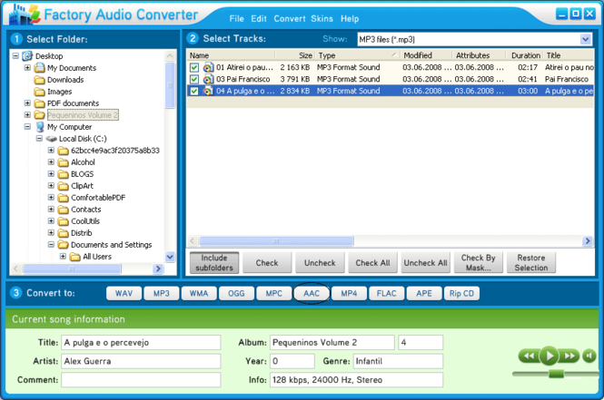 Factory Audio Converter Screenshot