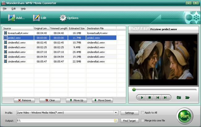 Wondershare WMV Movie Coverter Screenshot