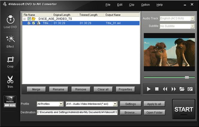 4Videosoft DVD to AVI Converter Screenshot 1