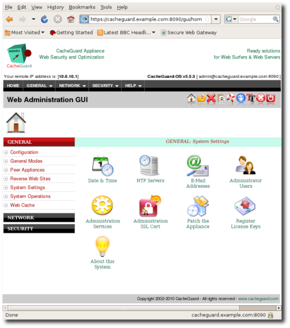 CacheGuard Appliance Screenshot 1