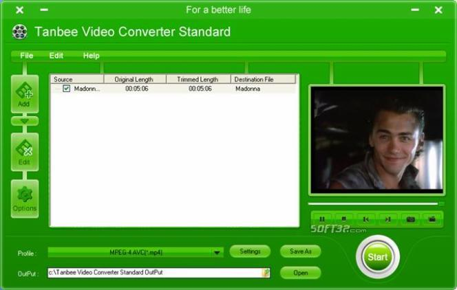 Tanbee Video Converter Standard Screenshot