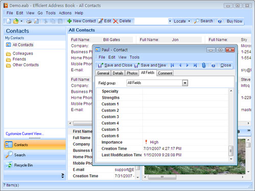 Portable Efficient Address Book Screenshot