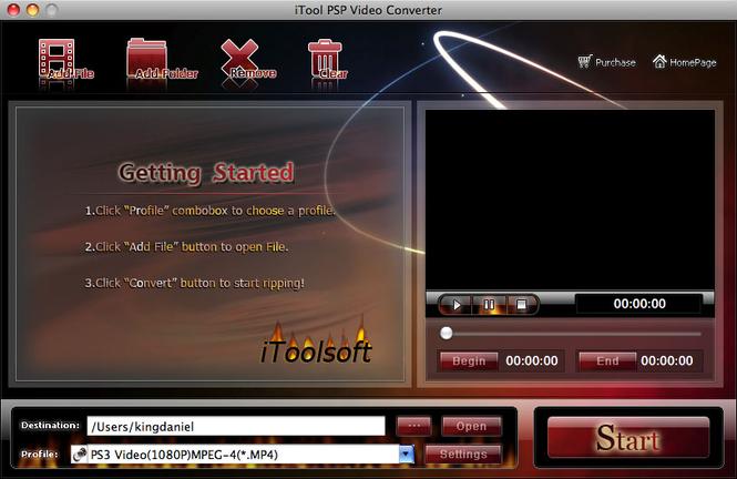 iTool PSP Video Converter for MAC Screenshot 1