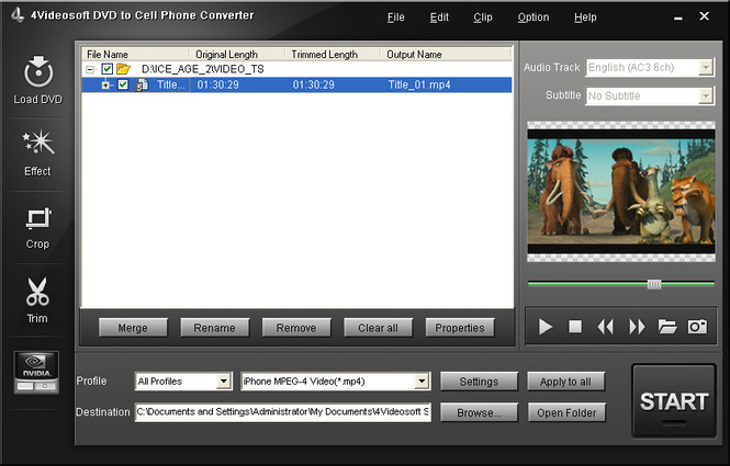 4Videosoft DVD to Cell Phone Converter Screenshot