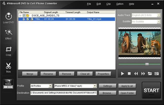 4Videosoft DVD to Cell Phone Converter Screenshot 1