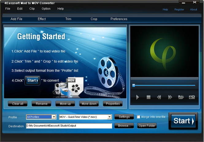 4Easysoft Mod to Mov Converter Screenshot 1