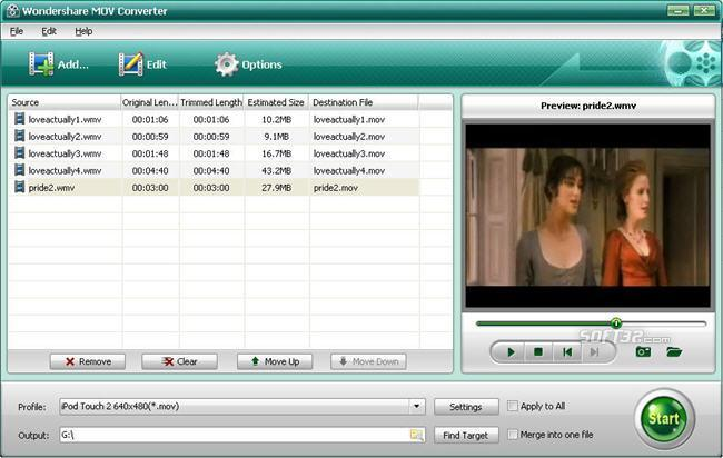 Wondershare Mov Converter Screenshot