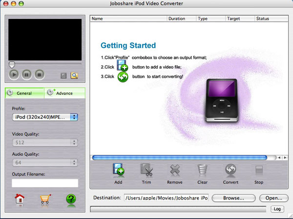 Joboshare iPod Video Converter for Mac Screenshot