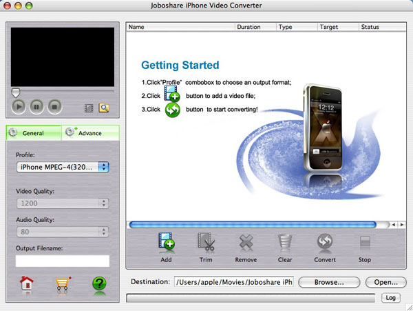 Joboshare iPhone Video Converter for Mac Screenshot