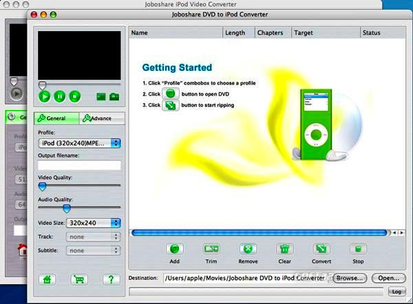 Joboshare DVD to iPod Bundle for Mac Screenshot 2
