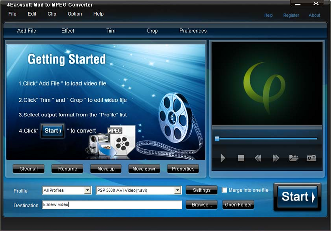 4Easysoft Mod to MPEG Converter Screenshot