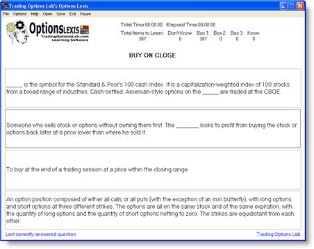 Options Lexis Screenshot