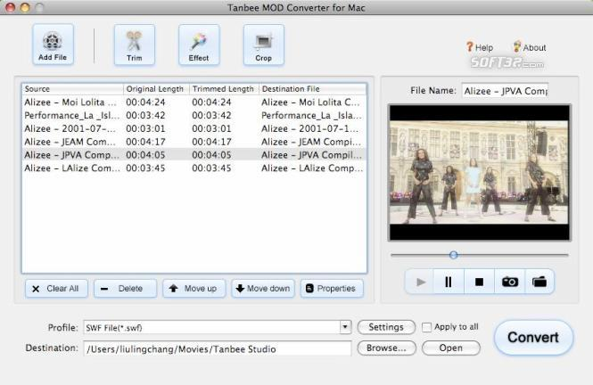 Tanbee Mod Tod Converter for Mac Screenshot