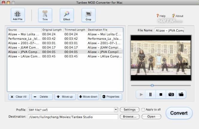 Tanbee Mod Tod Converter for Mac Screenshot 1