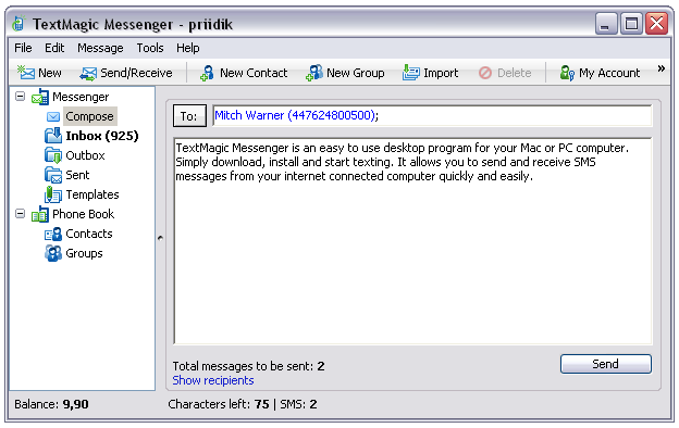 TextMagic Messenger Screenshot 1