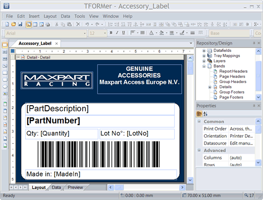 Barcode Label Printing Software TFORMer Screenshot