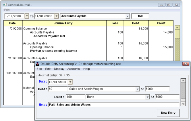 Double Entry Accounting Screenshot