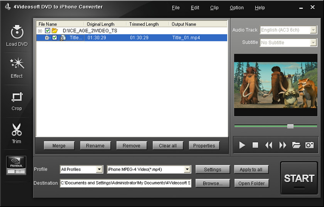 4Videosoft DVD to iPhone Converter Screenshot 2