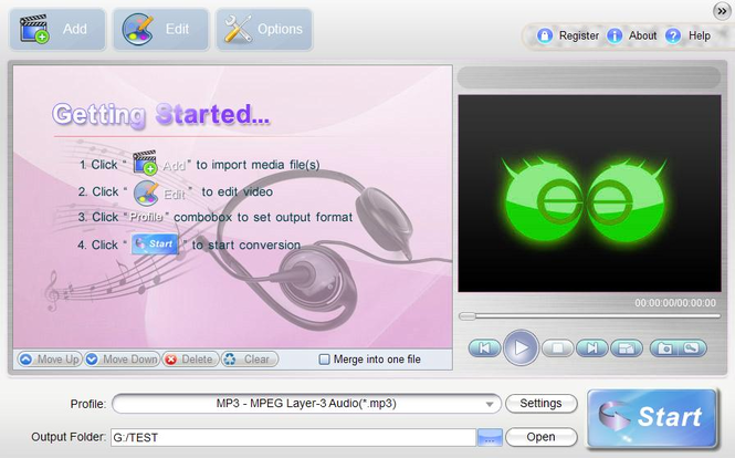 uSeesoft Audio Converter Screenshot 1