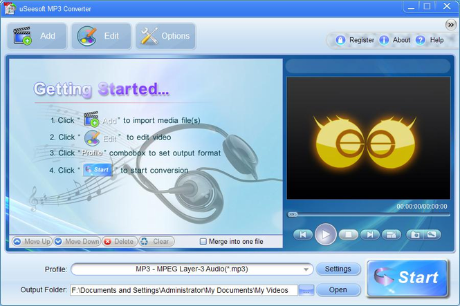uSeesoft MP3 Converter Screenshot 1