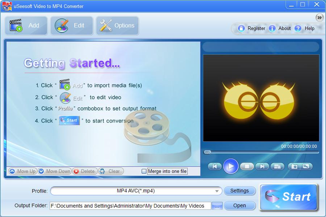 uSeesoft Video to MP4 Converter Screenshot