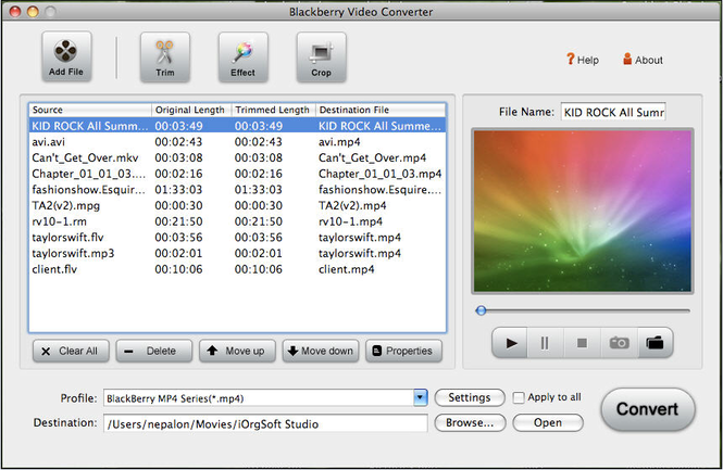 BlackBerry Video Converter for Mac Screenshot 1