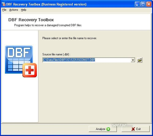 DBF Recovery Toolbox Screenshot 2