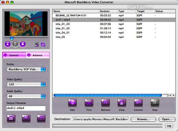 iMacsoft BlackBerry Video Converter for Mac Screenshot 2