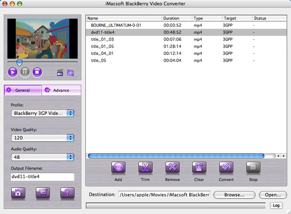iMacsoft BlackBerry Video Converter for Mac Screenshot 1