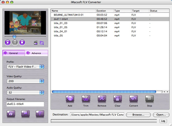 iMacsoft FLV Converter for Mac Screenshot 1