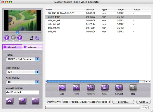 iMacsoft Mobile Phone Video Converter for Mac Screenshot