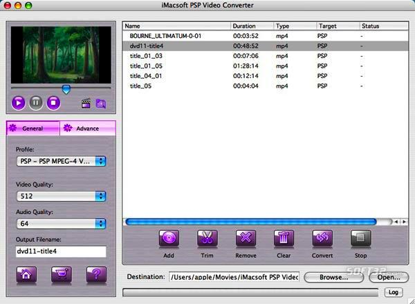 iMacsoft PSP Video Converter for Mac Screenshot 2