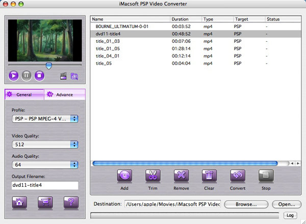 iMacsoft PSP Video Converter for Mac Screenshot