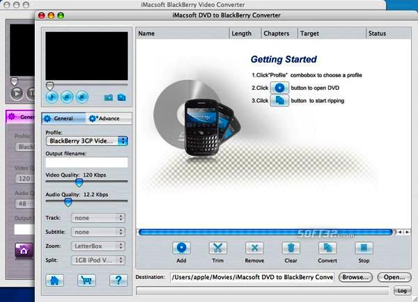 iMacsoft DVD to BlackBerry Suite for Mac Screenshot 2