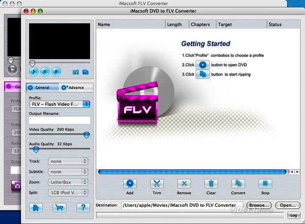 iMacsoft DVD to FLV Suite for Mac Screenshot 2