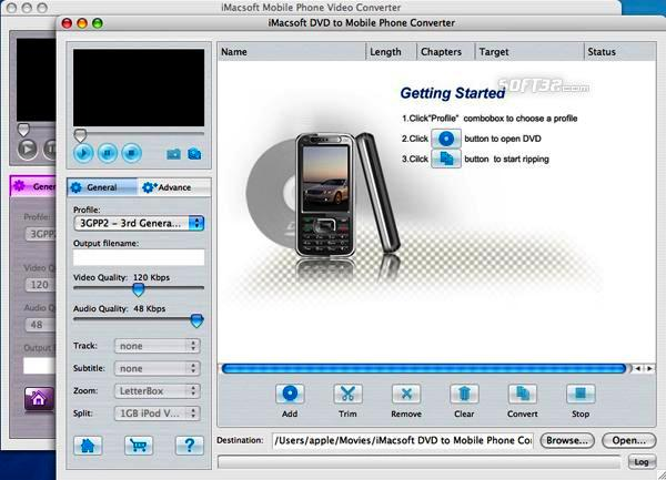 iMacsoft DVD to Mobile Phone Suite for Mac Screenshot 2