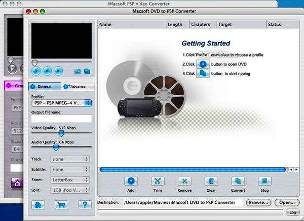 iMacsoft DVD to PSP Suite for Mac Screenshot 2