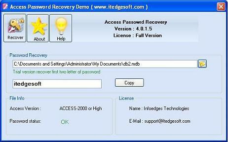 Recover Access Password Screenshot