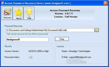 Recover Access Password Screenshot 2