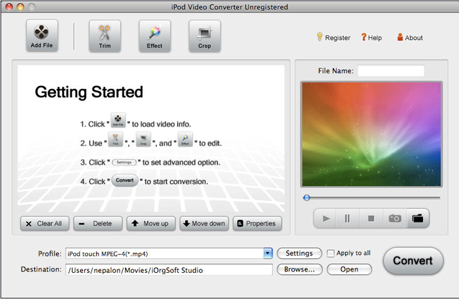 iPod Video Converter for Mac Screenshot