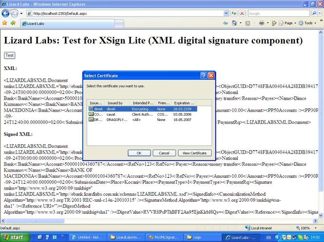 XSign ActiveX XML Signature Component Screenshot