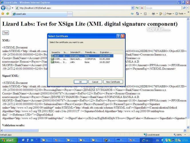 XSign ActiveX XML Signature Component Screenshot 3
