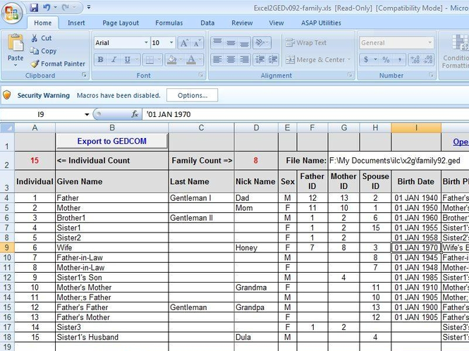 Excel2GED-family.xls Screenshot 1