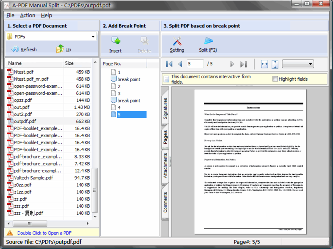 A-PDF Manual Split Screenshot