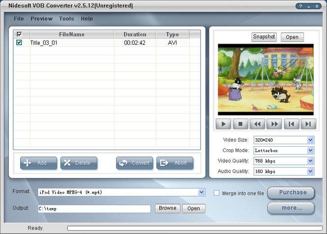 Nidesoft VOB Converter Screenshot 1