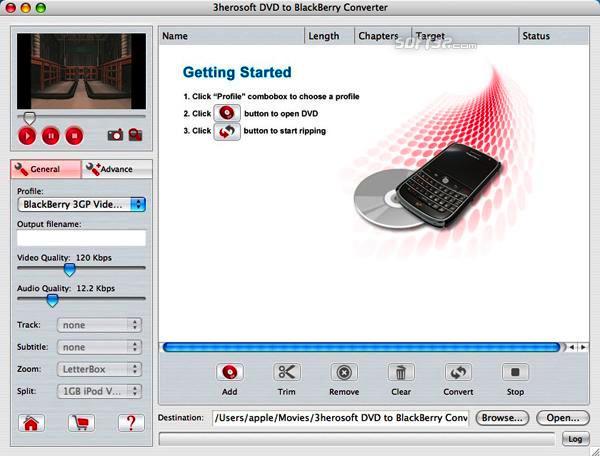 3herosoft DVD to BlackBerry Converter for Mac Screenshot 3