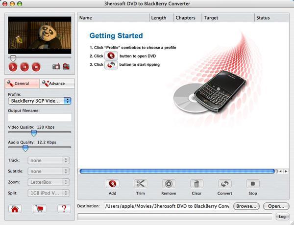 3herosoft DVD to BlackBerry Converter for Mac Screenshot